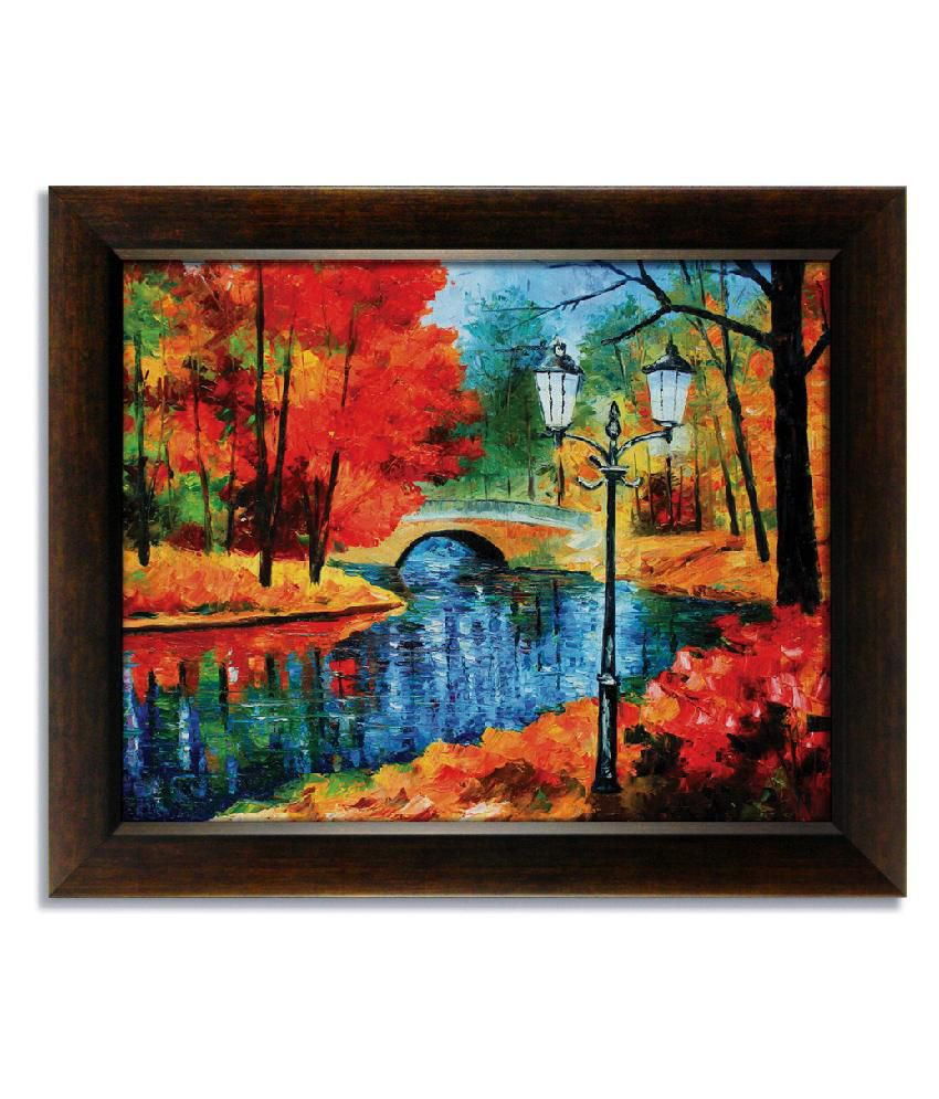 Stybuzz River View Frameless Canvas Painting