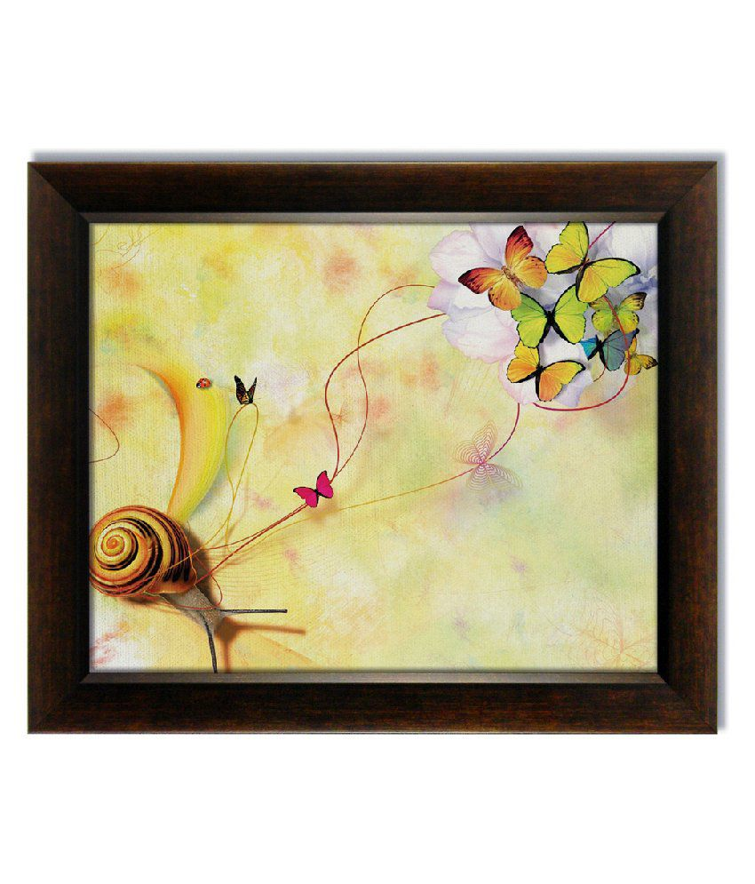 Stybuzz Snails And Butterfly Frameless Canvas Painting