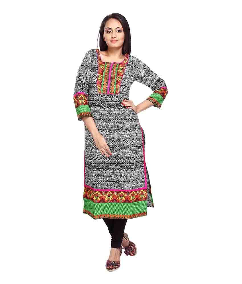 Vismit Fashions Black and White 34th Sleeve Round Neck Printed Cotton Anarkali Kurti for Women