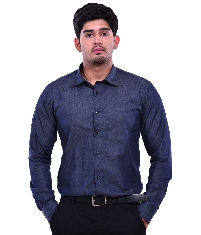 Dennison Metallic Black Denim Men's Casual Slim Fit Shirt