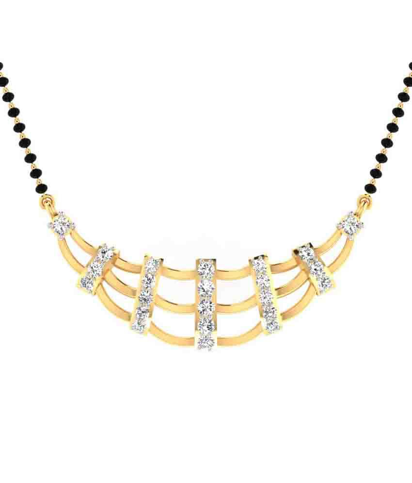 Juvls 18k Yellow Gold Egl/igr Certified Vs Clarity White Diamond Mangalsutra