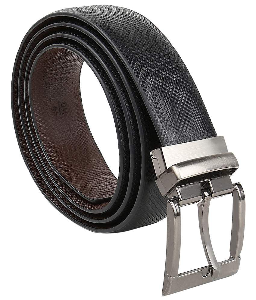 Selfieseven Durable Black Leather Formal Belt