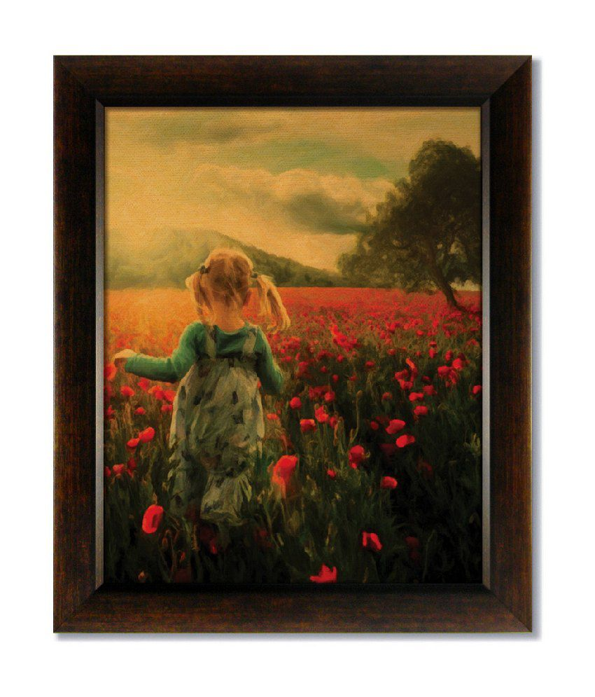 Stybuzz Girl In Field Frameless Canvas Painting