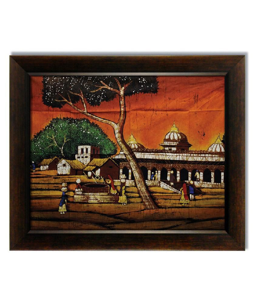 Stybuzz Indian Village Frameless Canvas Painting