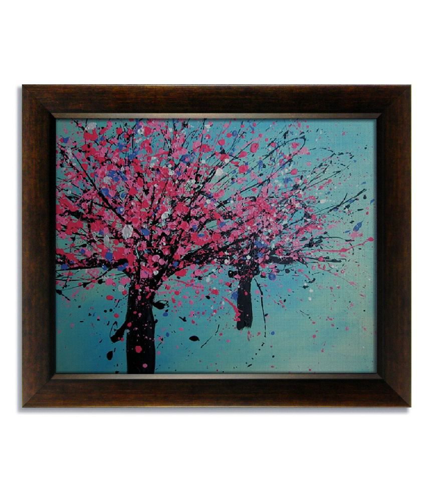 Stybuzz Textured Tree Blue Frameless Canvas Painting