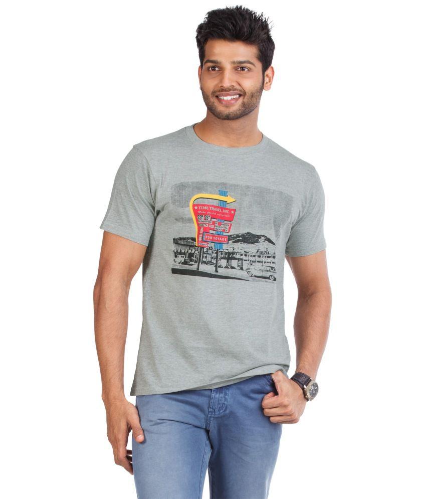 Zovi Gray Cotton Round Neck Half Sleeves T-shirt