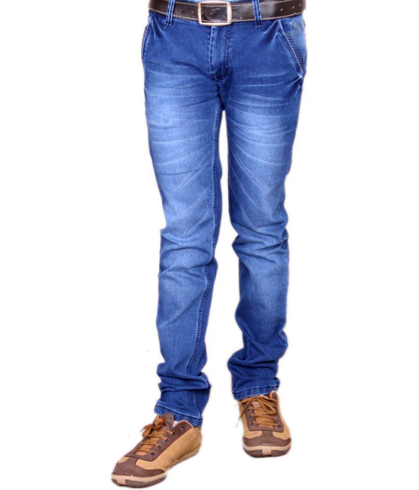 Fostil Blue Cotton Blend Slim Fit Stretchable Jeans For Men