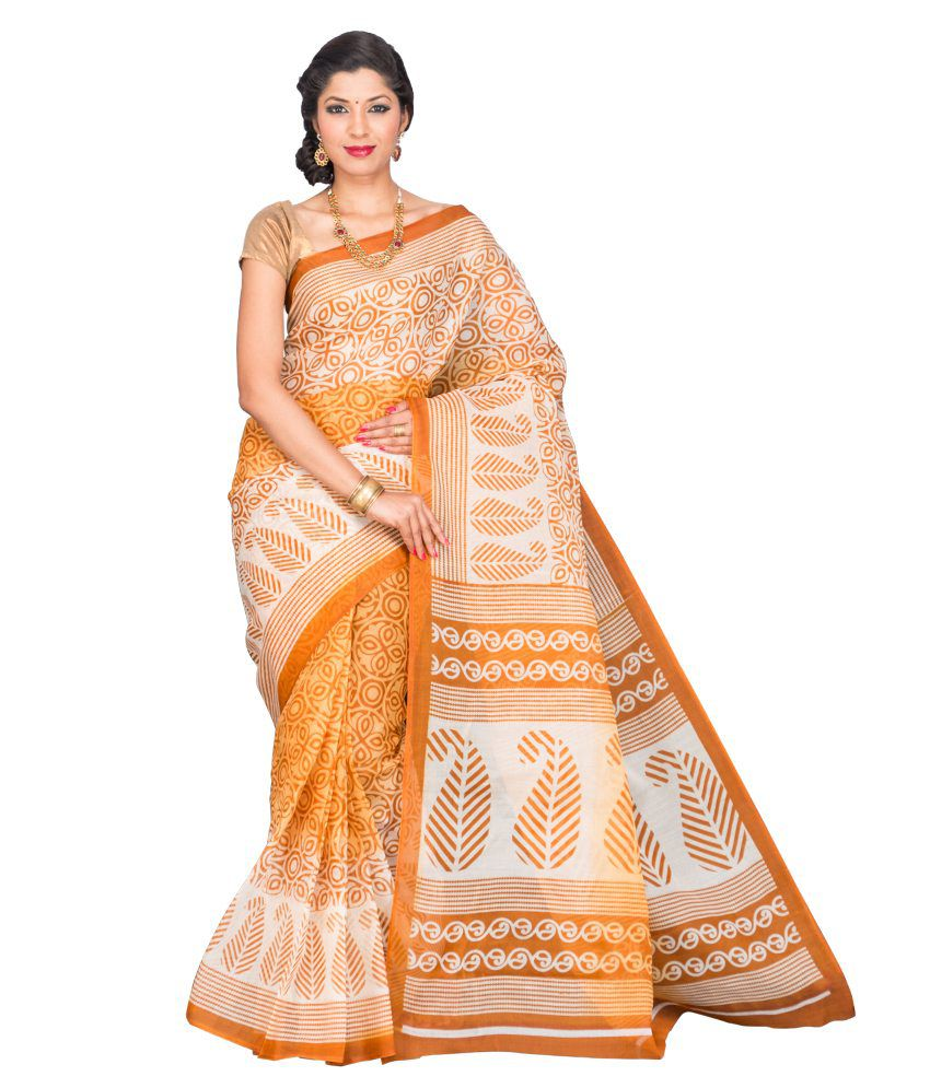 Korni Gold Polycotton Saree