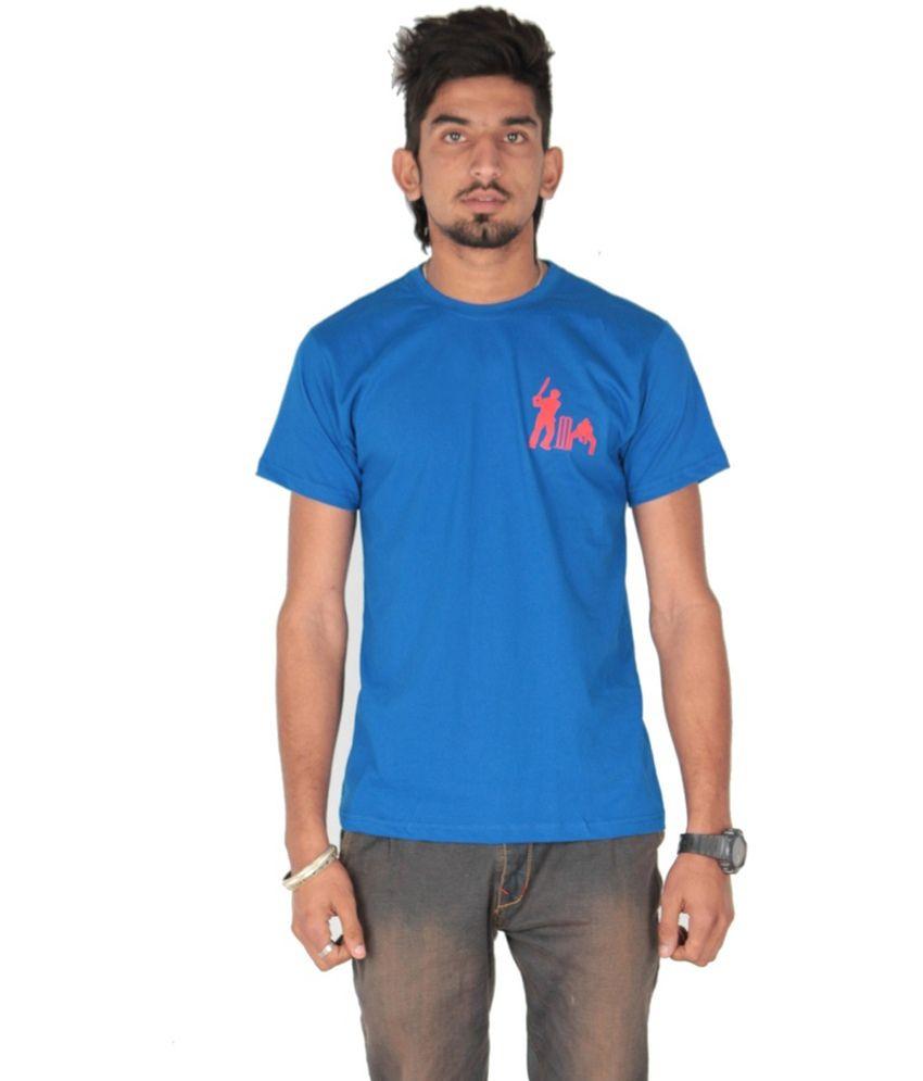 Posh 7 Blue Printed Cotton T Shirt