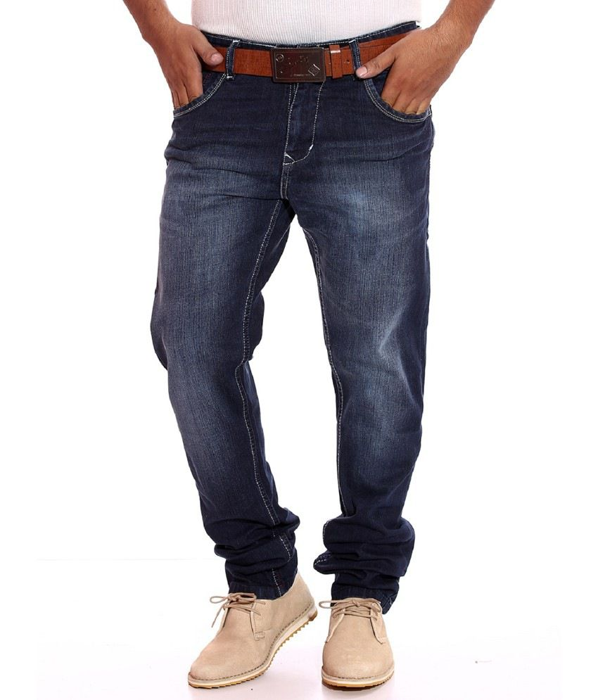 Sparky Blue Faded Cotton Lycra Slim Fit Mid Jeans For Men