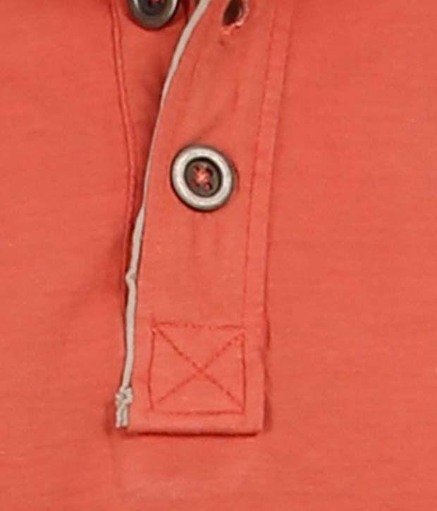 Goflaunt Coral Color Under Collar Men's Polo T Shirt