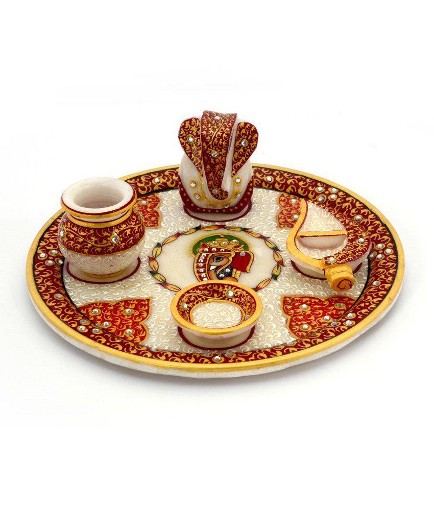 Jaipur Raga Gold Painted Lord Ganesha Idol Marble Pooja Thali 389