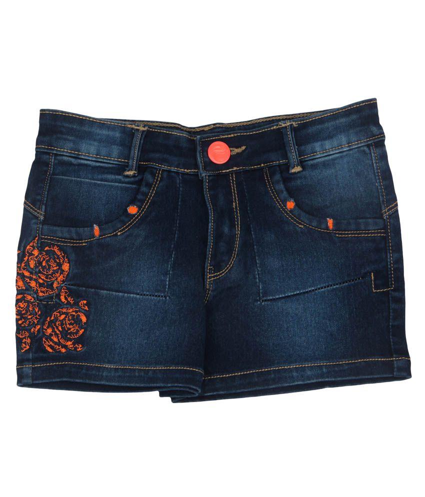 Leo N Babes Blue Denim Printed Shorts