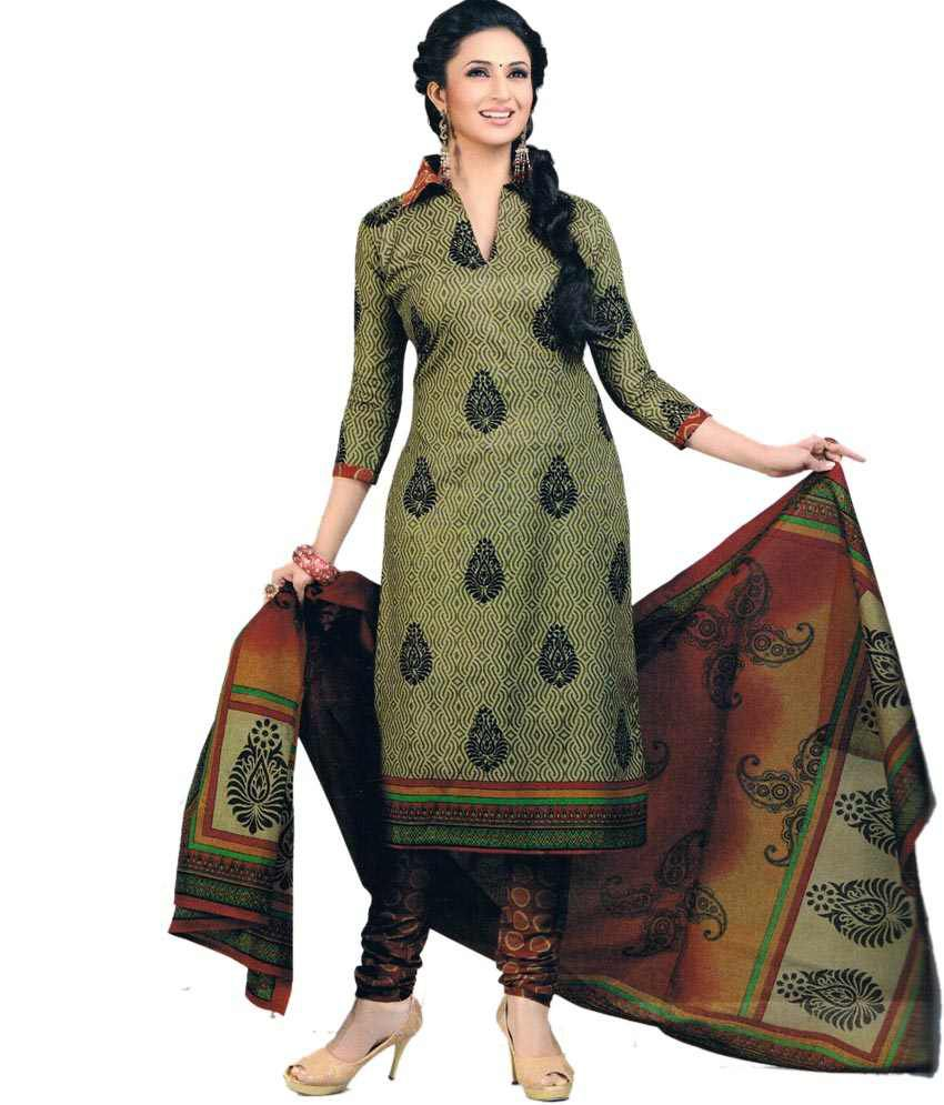 Venya style green printed salwar suit dress material buy for Style green