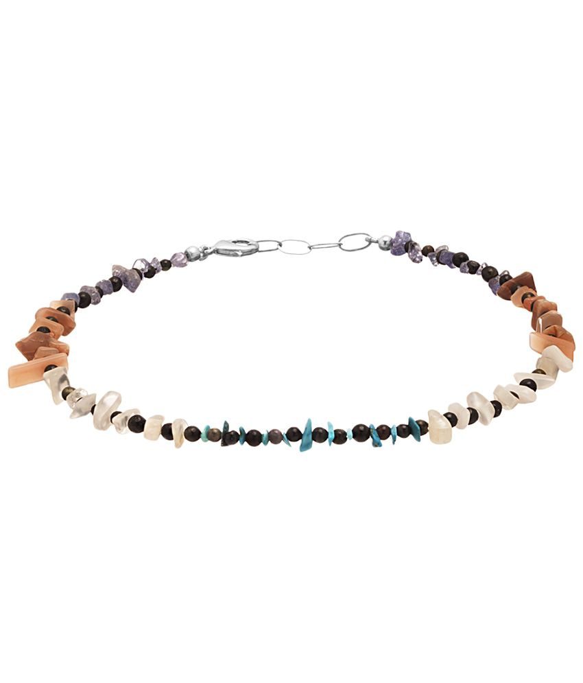 Voylla Attractive Silver Toned Coloured Bead Single Anklet