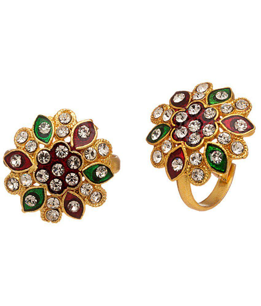 Voylla Brilliant Gold Plated Toe Rings