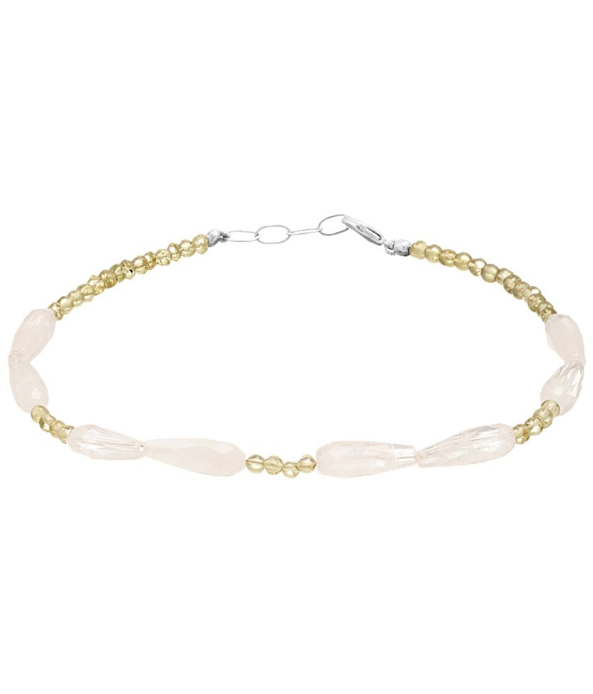 Voylla Magnificent Silver Finished Coloured Bead Single Anklet