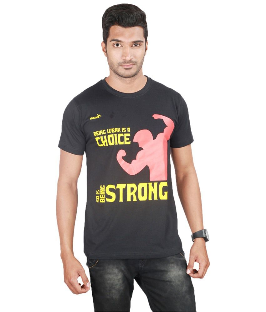 1fccf18b30a4 Kingaroo Stylish Black amp; Red Printed Round Neck T Shirt available at  SnapDeal for Rs