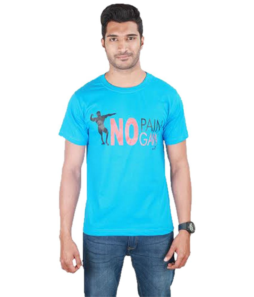 Kingaroo Stylish Blue & Black Printed Round Neck T Shirt