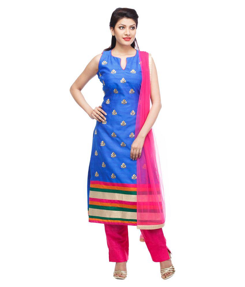 Pashupati Royal Blue Zari Work A-line Suit Set