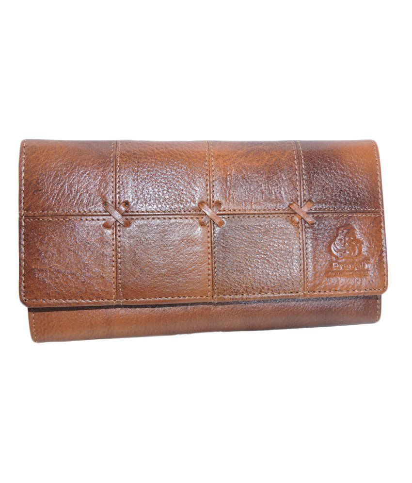 Pranjali Leather Tan Bi-fold Women Wallet