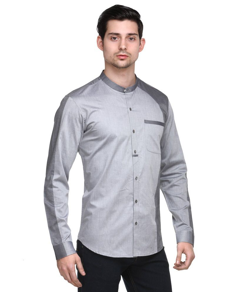 a2b40275af5 Fusion Freak Gray Full Sleeves 100 Percent Cotton Club Wear Shirt ...