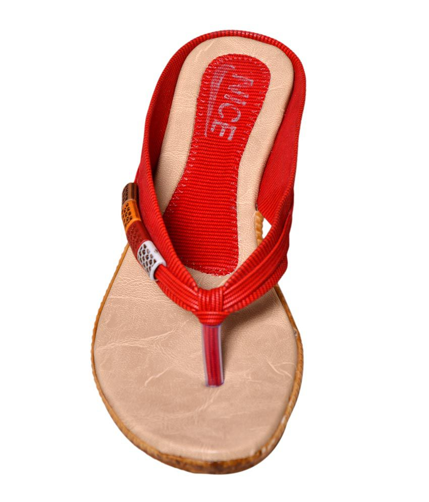 cb6b87c3f33c7 Nice Red Womens Flat Slippers Price in India- Buy Nice Red Womens ...
