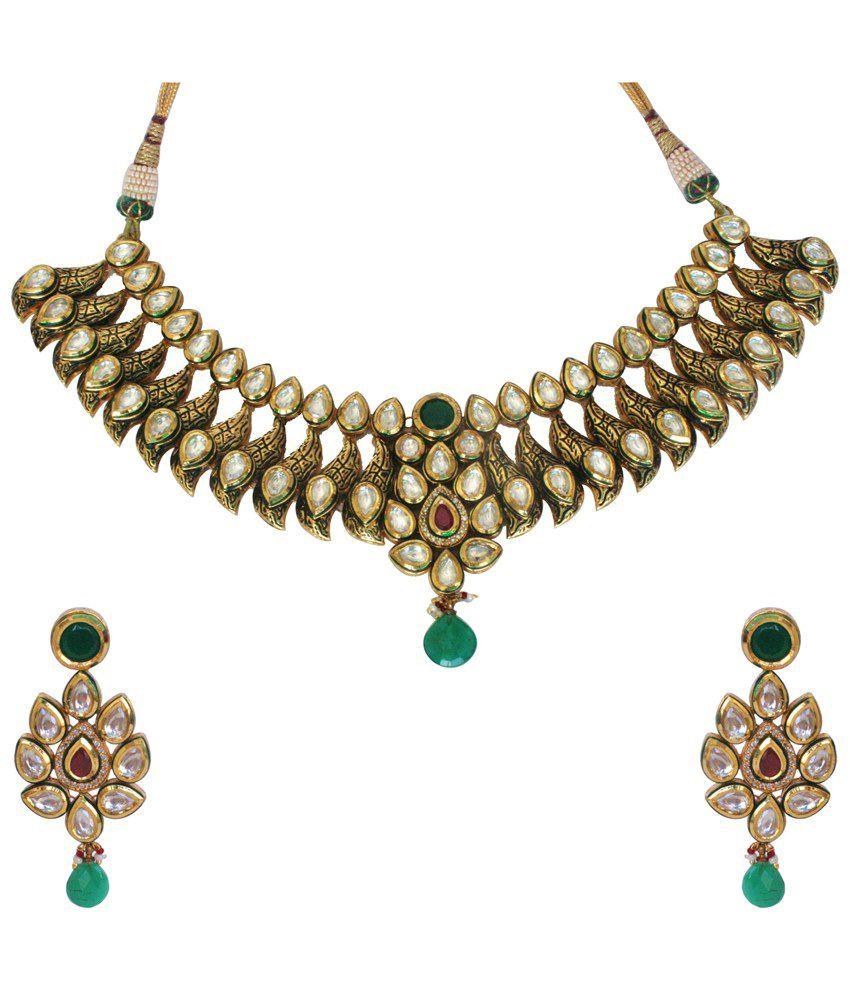 Shehanaz Multicolour Traditional Kundan Bridal Necklace Set