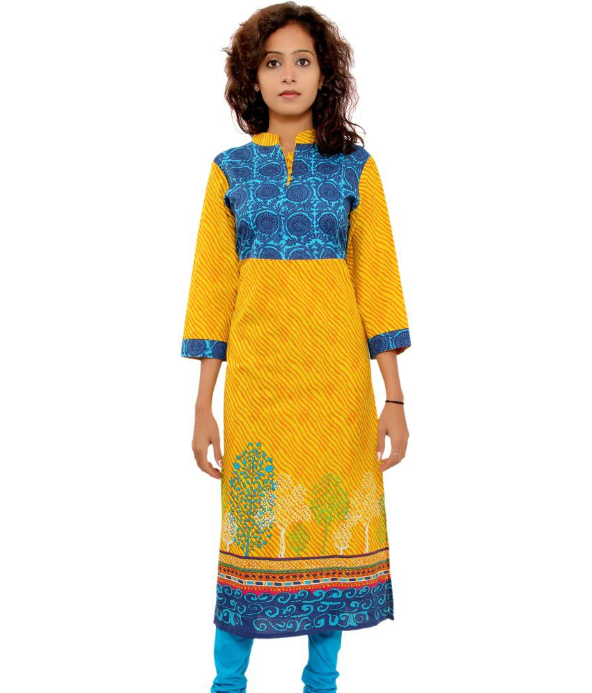 Shop Rajasthan Multi 3/4th Sleeves Chinese Collar Printed Medium Cotton Kurti