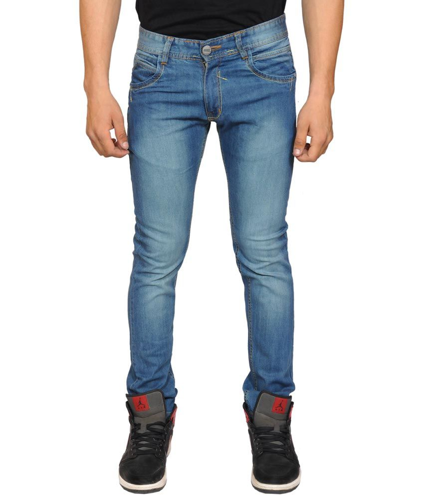 Sny Hind Outfitters Blue Cotton Blend Slim Fit Jeans