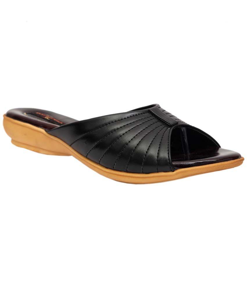 Trilokani Black Synthetic Comfertable Women's Slipper