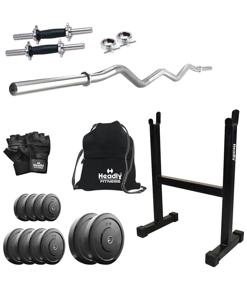Headly 38kg home gym 14 inch dumbbells curl rod rod stand