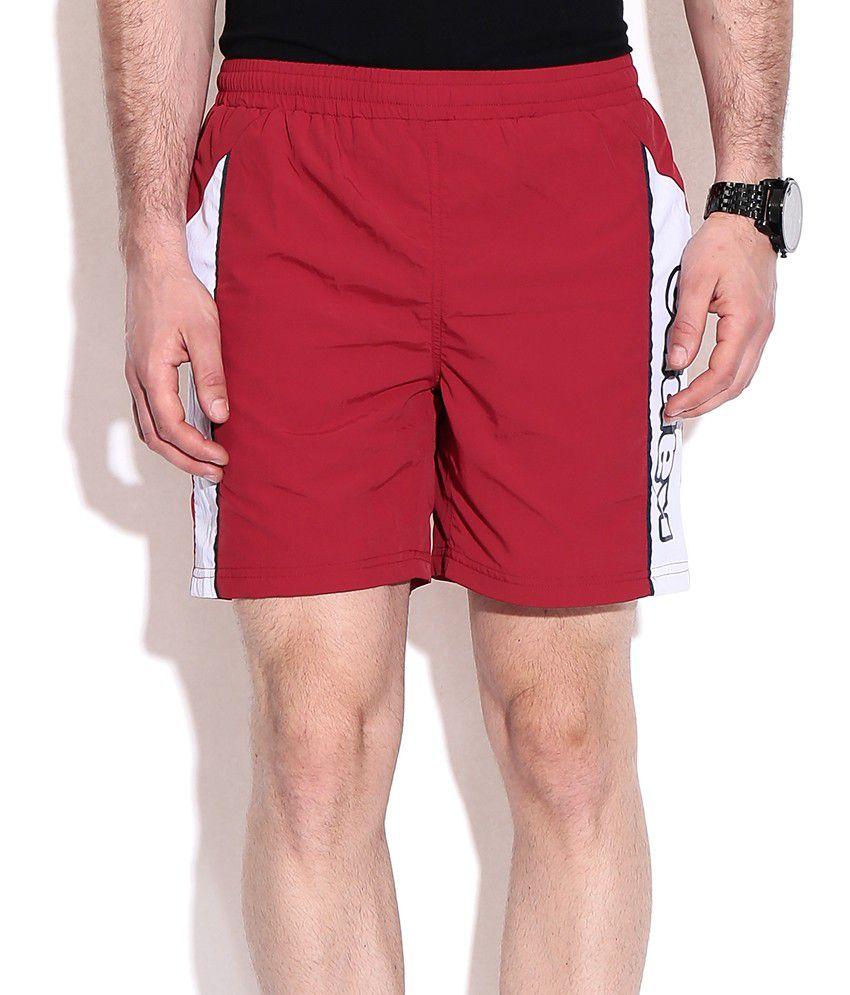 Ka Red Cotton Blend Shorts