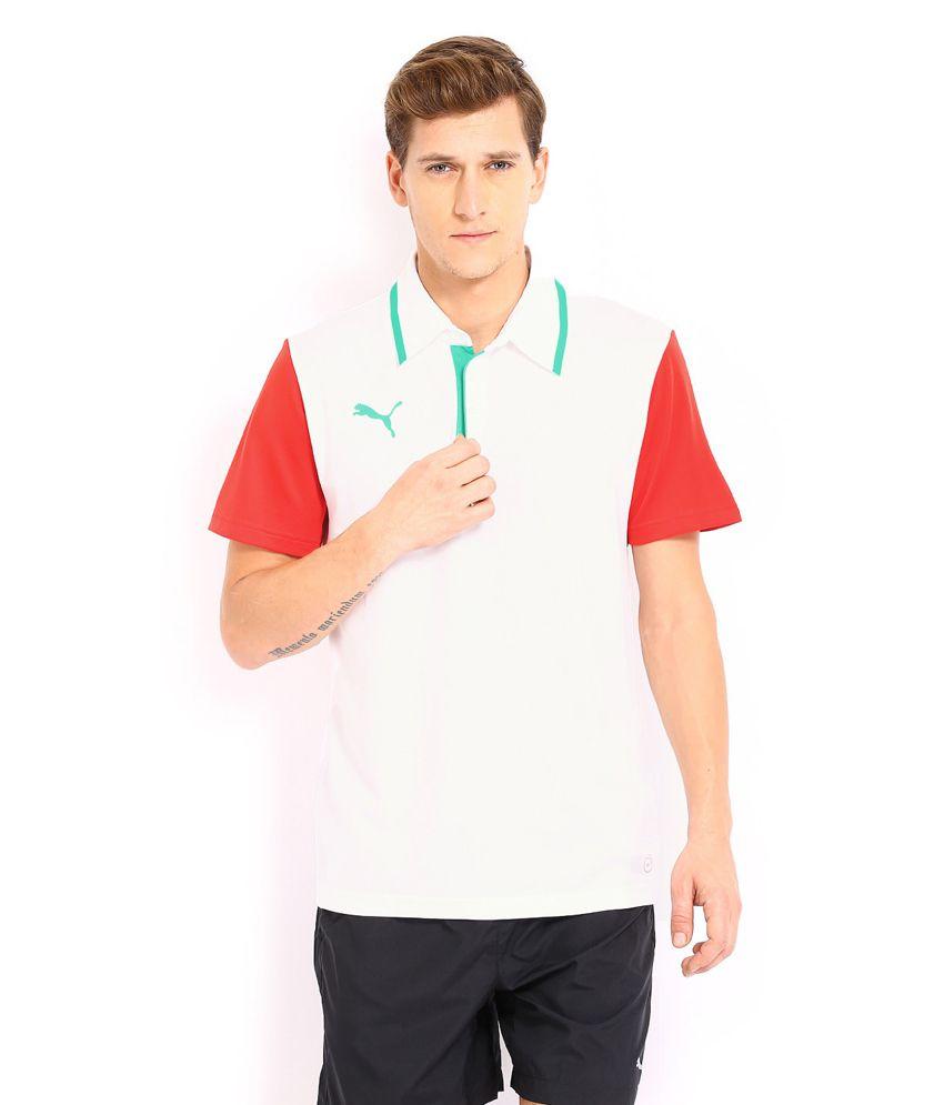 Puma White Polyester Basics T-shirt