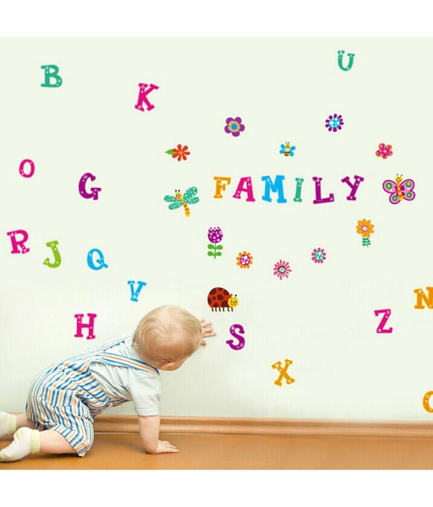 ... Decals For Walls Decor; Uberlyfe Colorful Erfly Flower Alphabet Baby  Nursery L ... Part 76