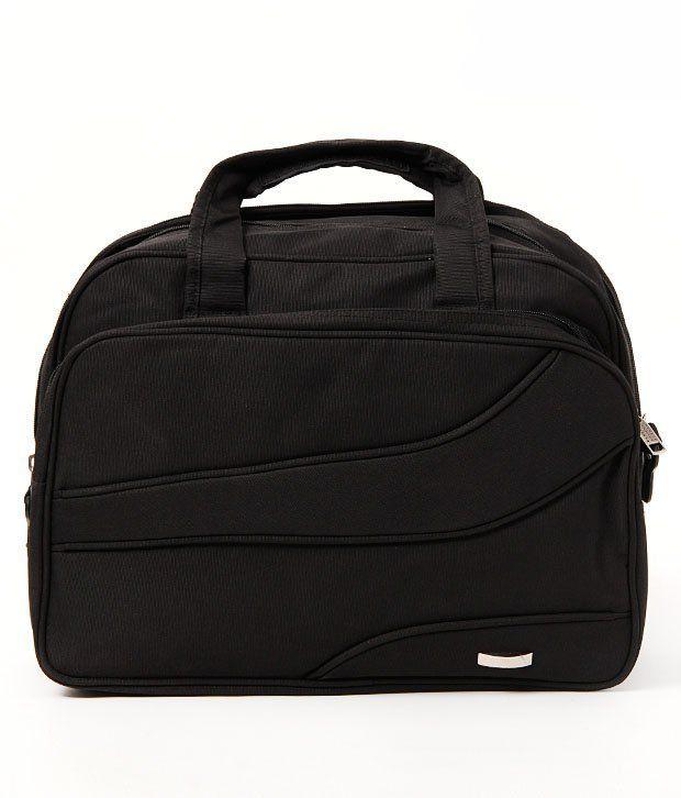 WalletsnBags Modish Black Portfolio Bag