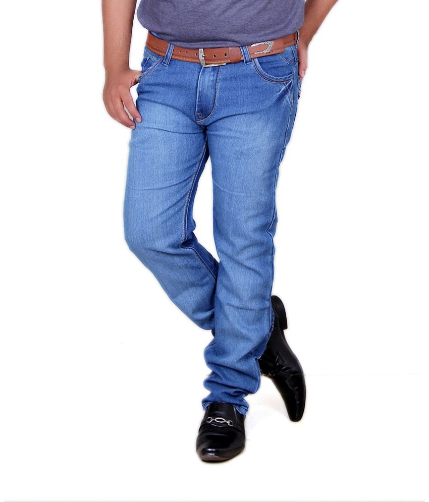 Acro Blue Cotton Faded Jeans