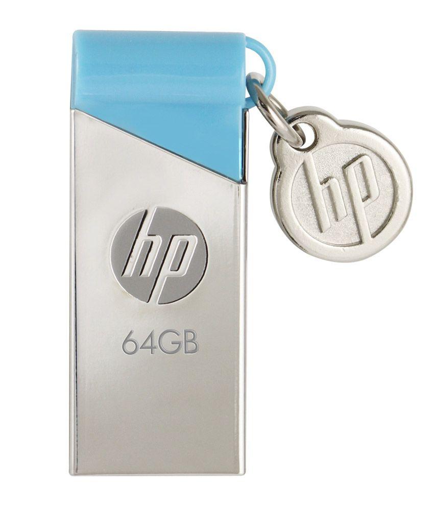 HP V 215 B 64 GB Pen Drive (Silver & Blue)