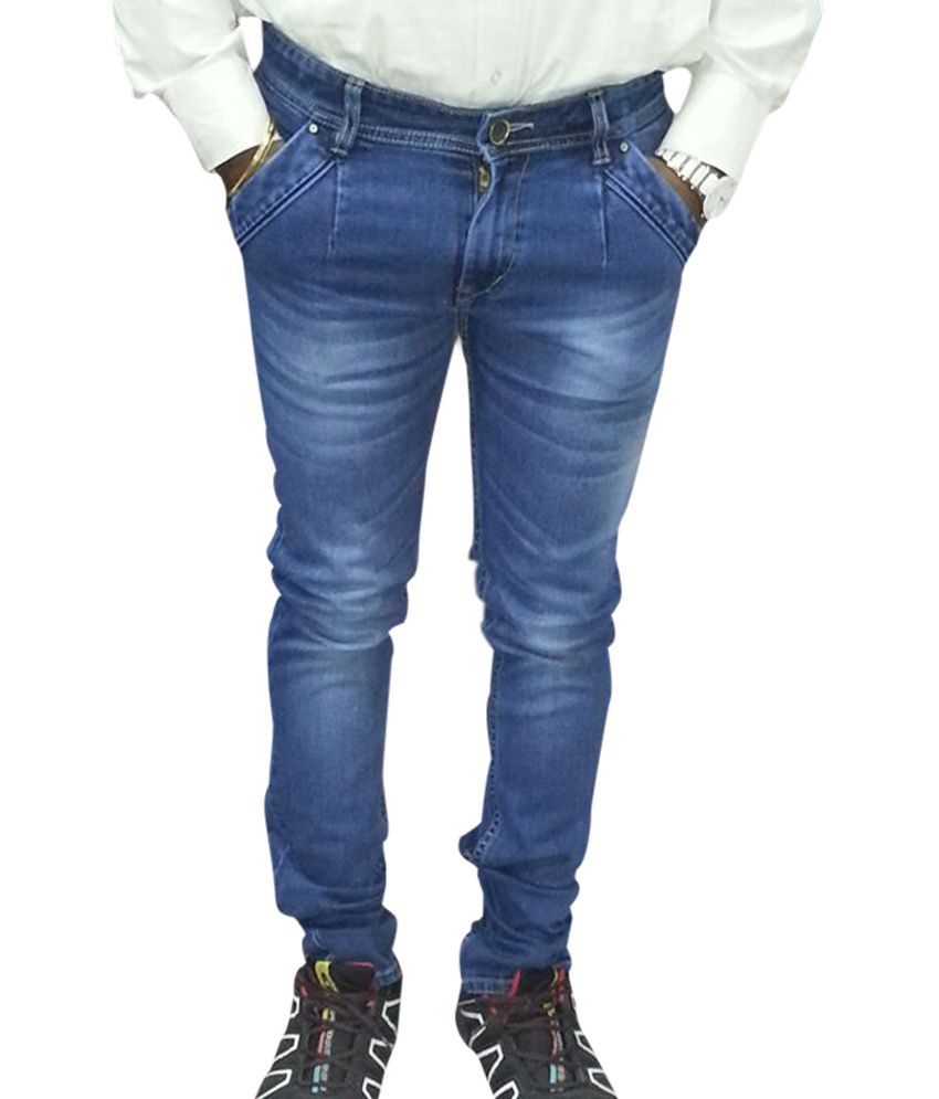 Haveluck Blue Cotton Skinny Faded Jeans