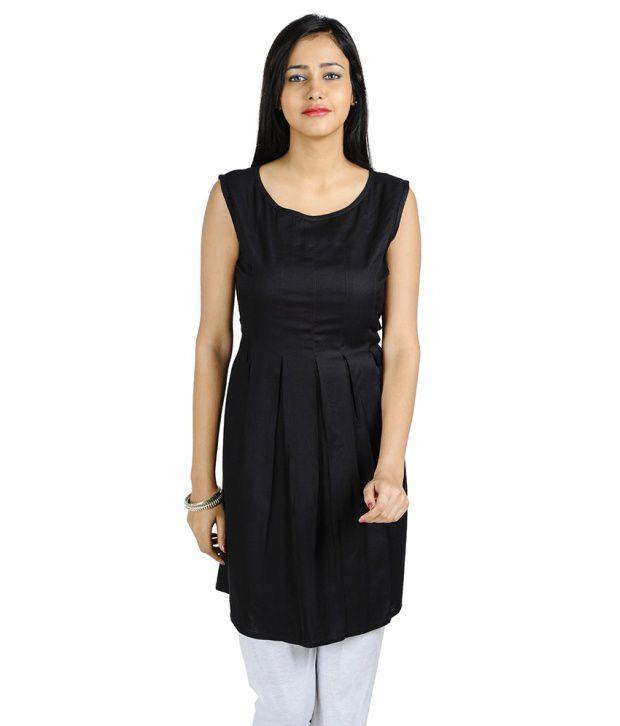 Lingra Black Cotton Dresses