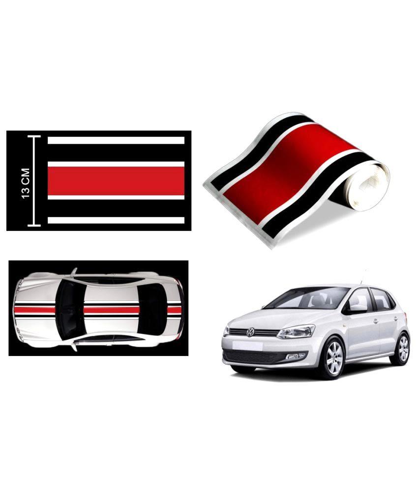 Speedwav car racing stripe graphic sticker black red black for volkswagen polo buy speedwav car racing stripe graphic sticker black red black for