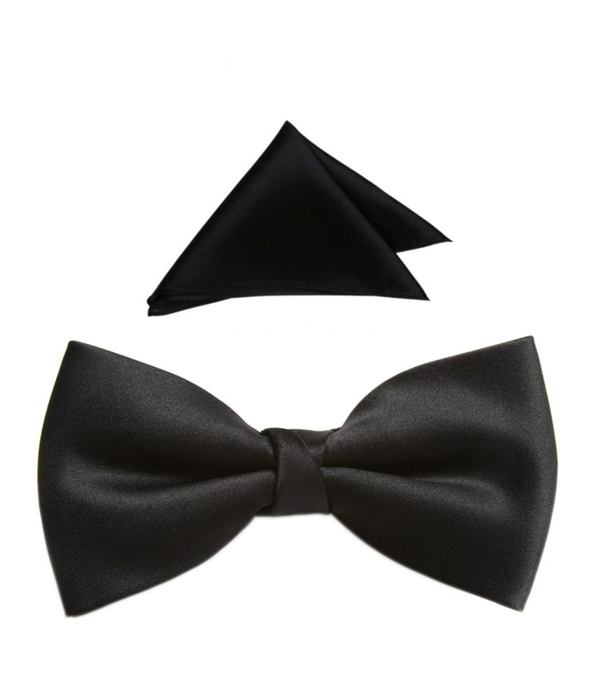 Fashion Ciruit Black Bow Tie Set With Matching Pocket Square