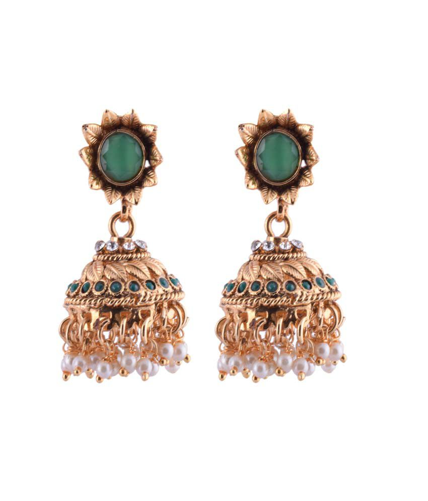Ganapathy Gems Green Brass And Copper Party Earings