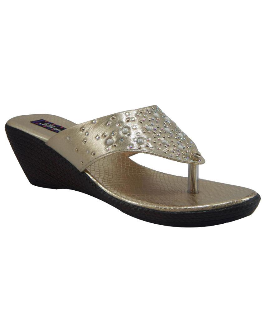 Gs Footwear Lovely Golden Heeled Slip-on