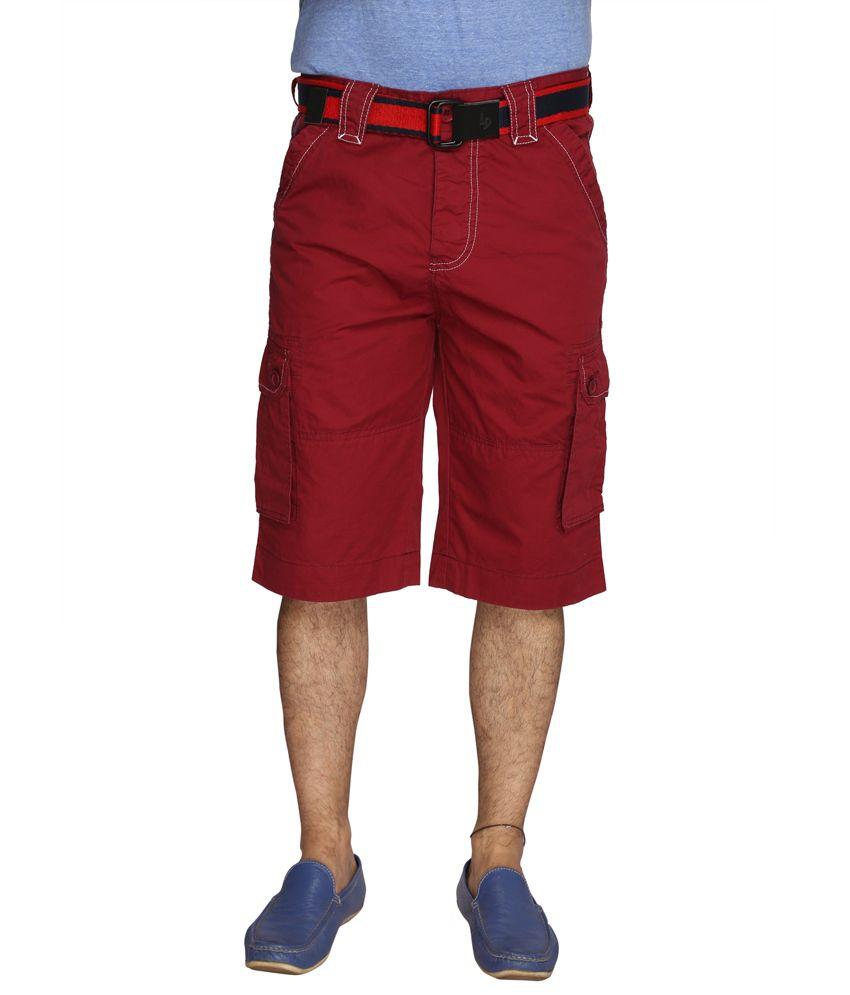 LD Active Maroon Cotton Men's Shorts
