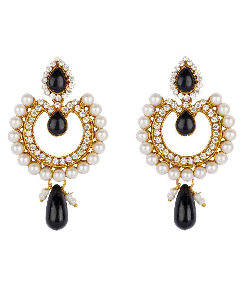 Reeti Fashions Dangling Black Studs & Pearls Earrings