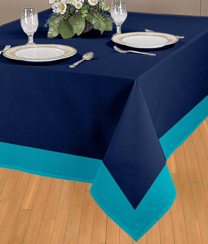 Elan lovely blue solid table cloth 6 seater buy elan for 10 seater table cloth