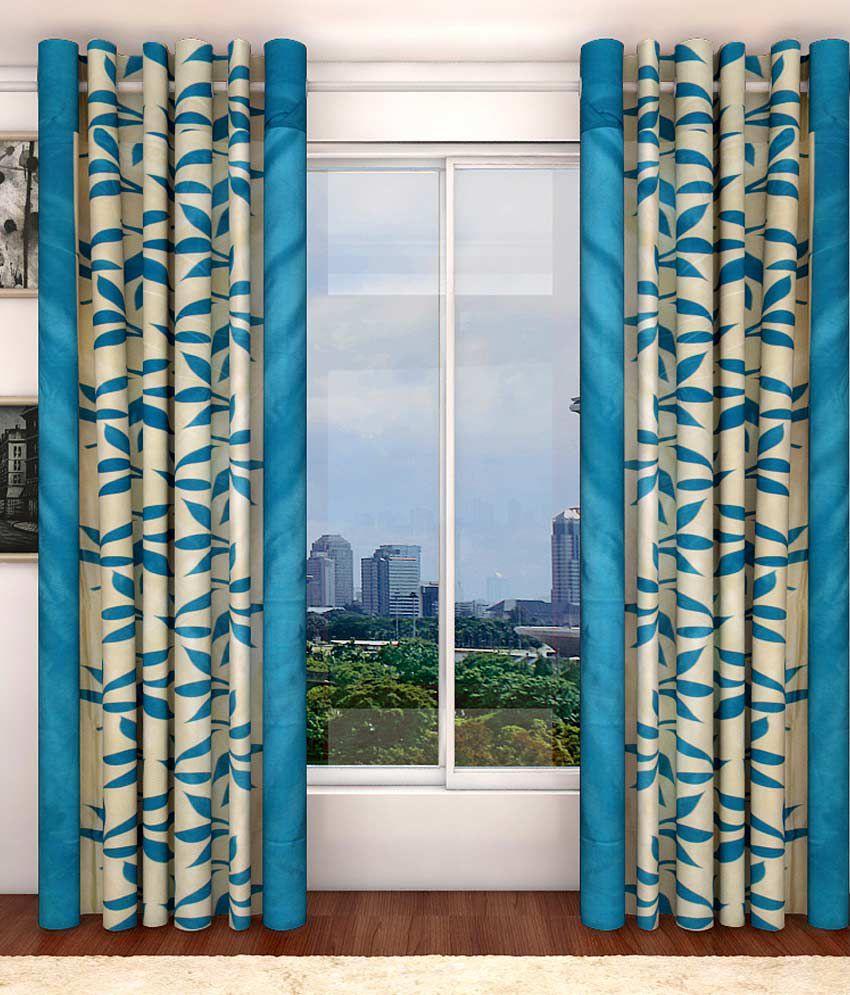 Blue contemporary curtains - Sanaya Set Of 2 Door Eyelet Curtains Contemporary Blue