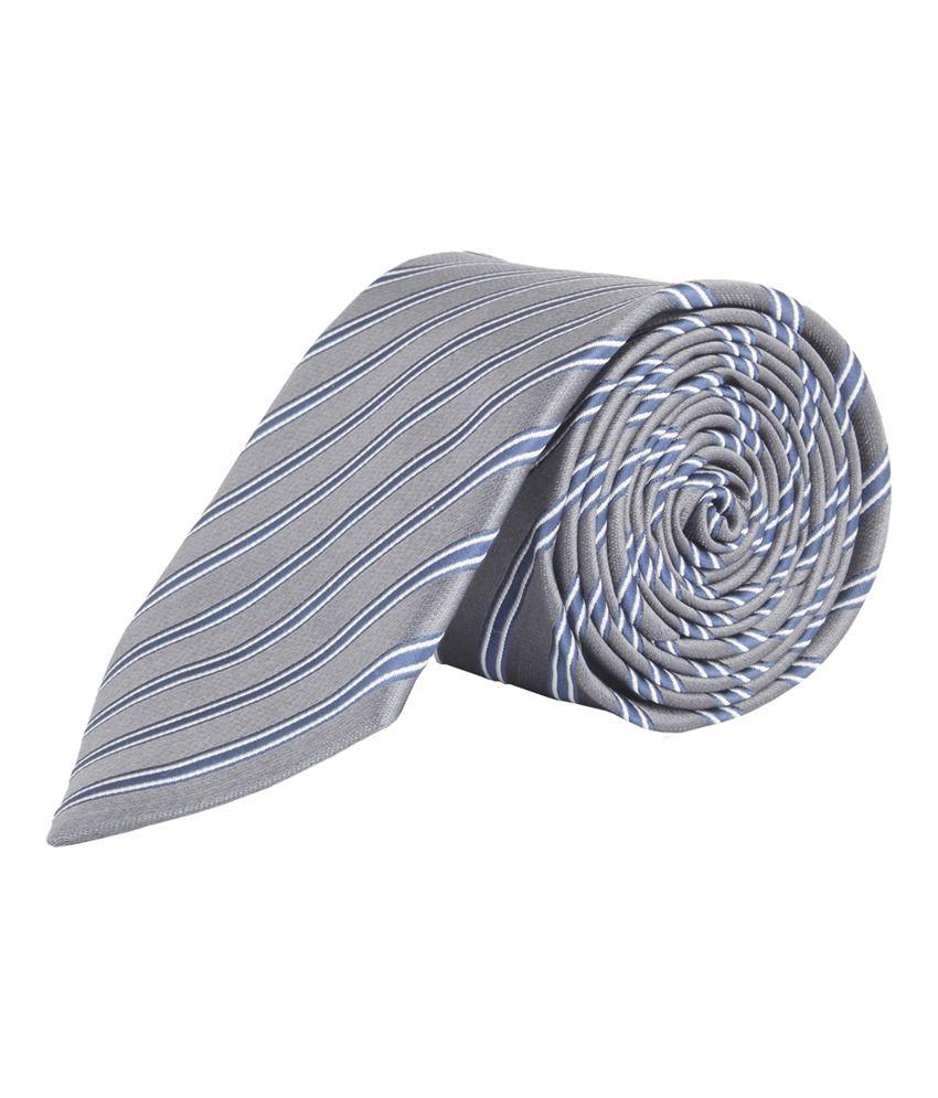 Modo Dark Grey Self Striped Formal Narrow Tie