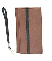 Jo Jo A5 Nillofer Leather Wallet Universal Pouch Cover Case For Samsung E2652 Champ Duos Light Brown Black for sale  Delivered anywhere in India